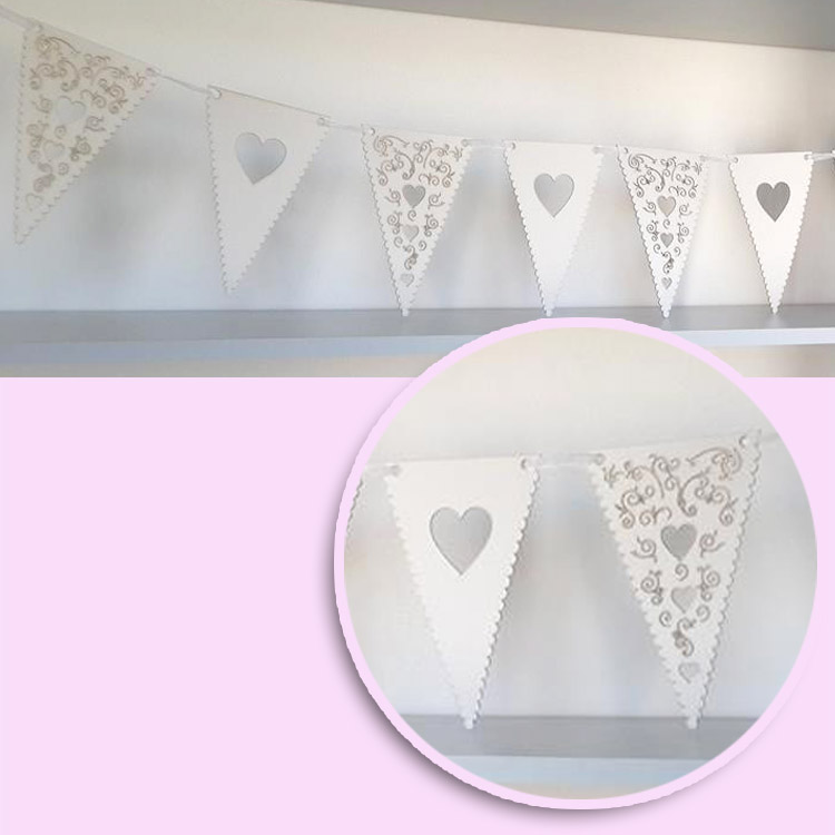cream laser cut board bunting