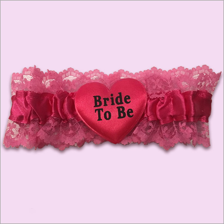 bride to be pink garter