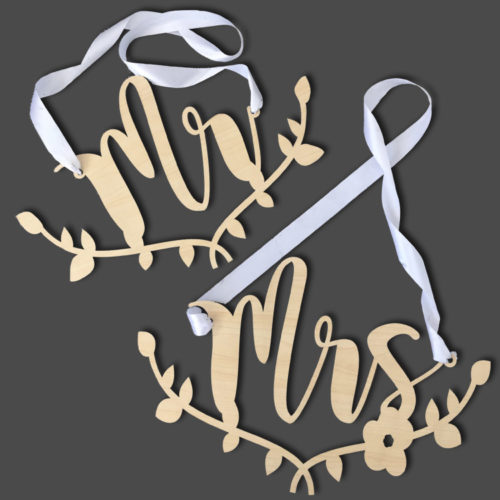 Mr & Mrs Wooden Chairback set signage