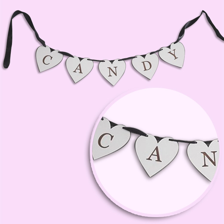 Candy Wooden Heart Bunting