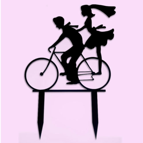 cycling couple cake topper