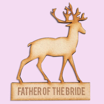 Deer wooden bridal party badge
