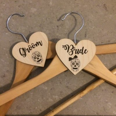 Wooden Sugar Skull Wedding Hangers
