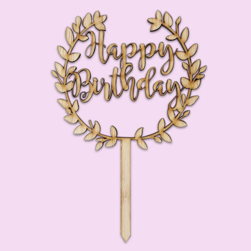 floral happy birthday cake topper