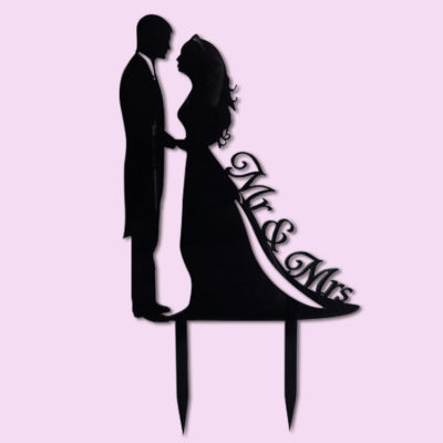 Mr & Mrs Silhouette Cake Topper