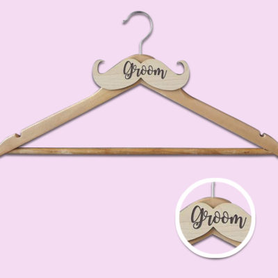 Wooden Moustache Groom Hanger