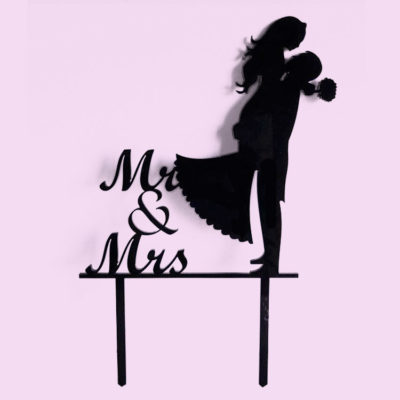 Mr & Mrs Silhouette Cake Topper