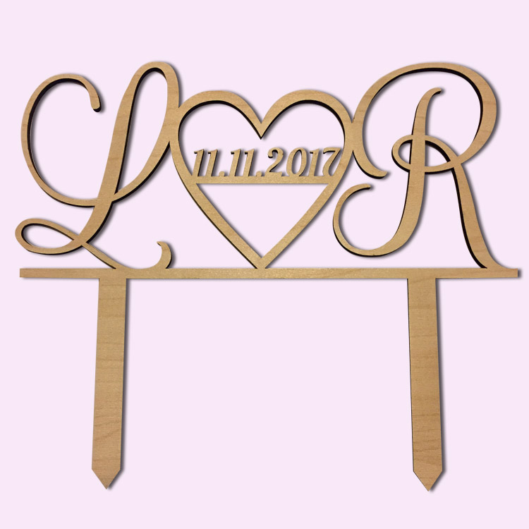 Custom Heart Initials Cake Topper
