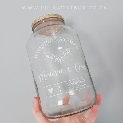 Custom Wedding Fund Glass Jar