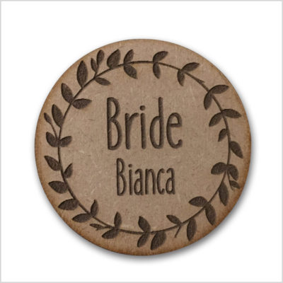 Custom Wreath Bridal Badge