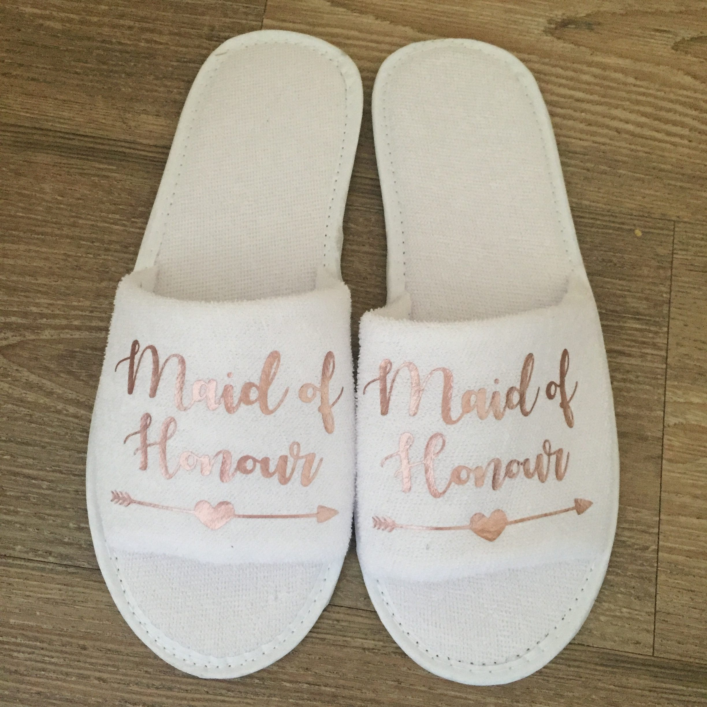 Rose Gold Maid of Honour Slippers
