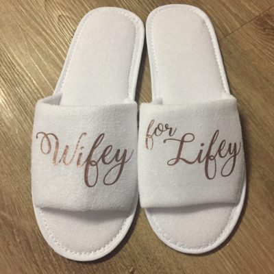 Blush Gold Wifey for Lifey Slippers