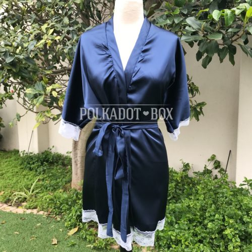Navy Bridal Robe
