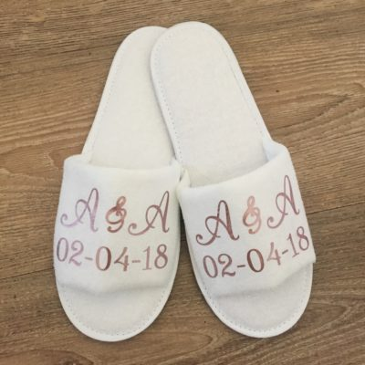 Custom Initials Wedding Slippers