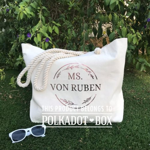 custom name beach bag