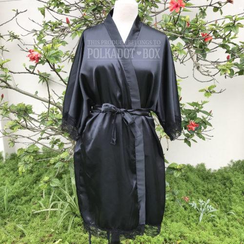 Black Bridal Robe