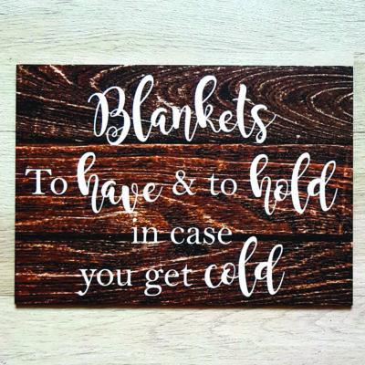 Blankets Wedding Signage