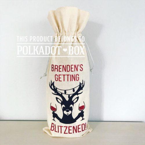 Christmas Wine Bottle Drawstring Bag